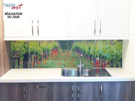 cuisine en verre crédence de cuisine en verre imprimé vignoble