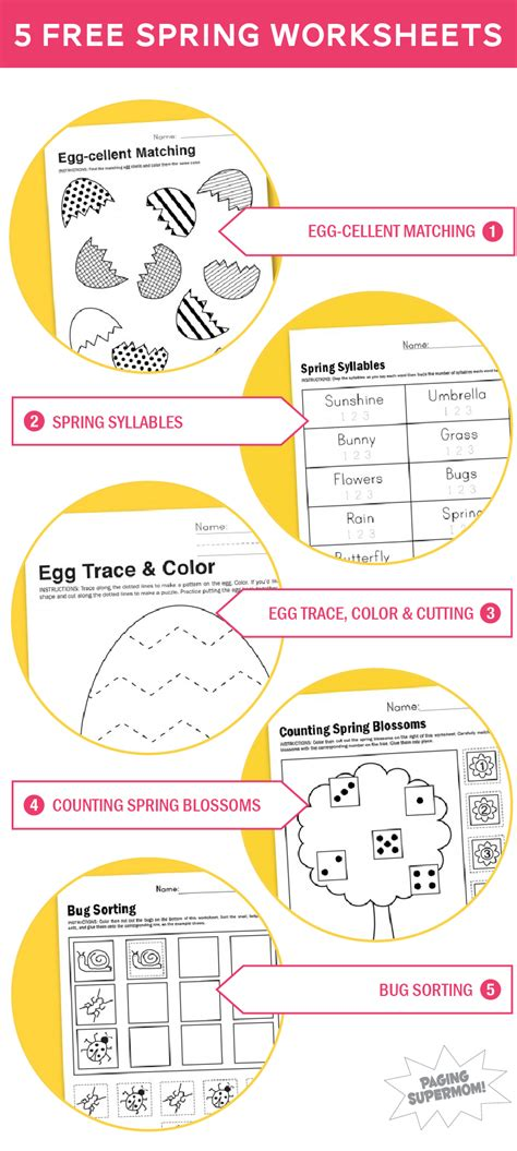 printable worksheets  spring paging supermom