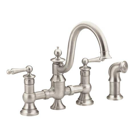 bridge faucet kitchen moen waterhill 2 handle high arc side sprayer bridge