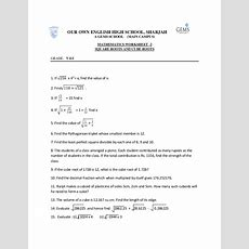 Square Roots And Cube Roots Worksheet