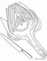 Coloring Fork Spoon Knife Artichoke Pages Getcolorings Printable Getdrawings sketch template