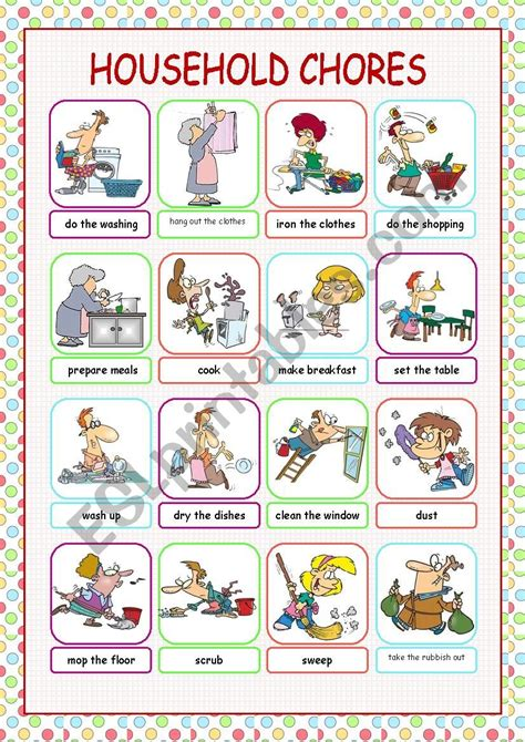 english worksheets household chores picture dictionary