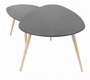Table Gigogne Scandinave : table basse gigogne plateau noir et pieds bois lule ~ Teatrodelosmanantiales.com Idées de Décoration