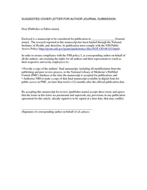 Cover Letter Publication Submission Sample