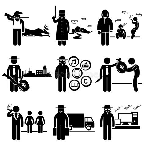 Illegal Activity Crime Jobs Occupations Careers Stock