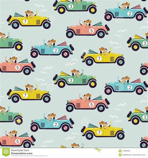 Cute Car Race Seamless Vector Pattern. Stock Vector