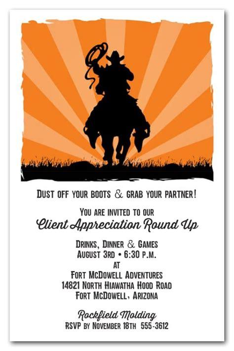 cowboy sunset western invitations