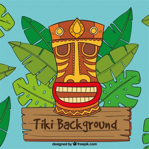 Palm Tiki by Tiki Mask Backgorund With Palm Tree Leaves Vector Free