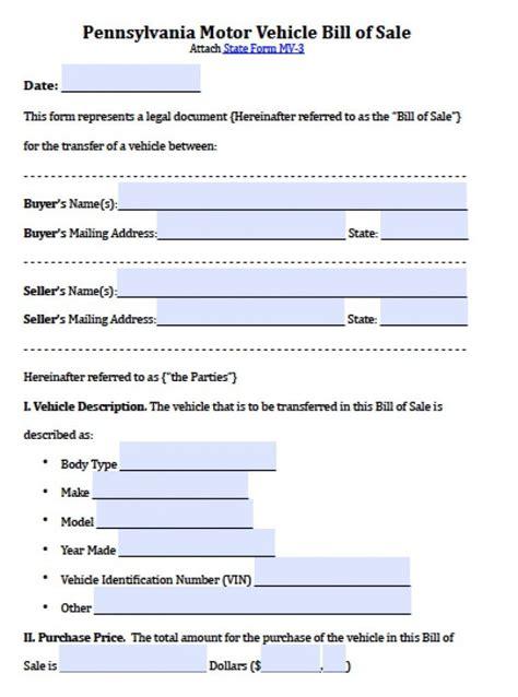 pennsylvania motor vehicle bill  sale form