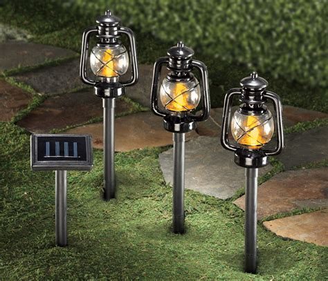 3 solar power lighted railroad lantern pathlights