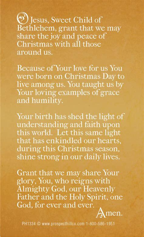 prospect hill company christmas prayer card 2013 back final