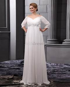 Plus size empire waist wedding dresses with sleeves for Empire waist wedding dress plus size