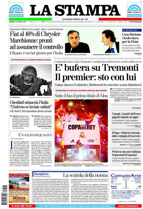 Newspaper La Stampa (Italy). Newspapers in Italy. Friday's ...