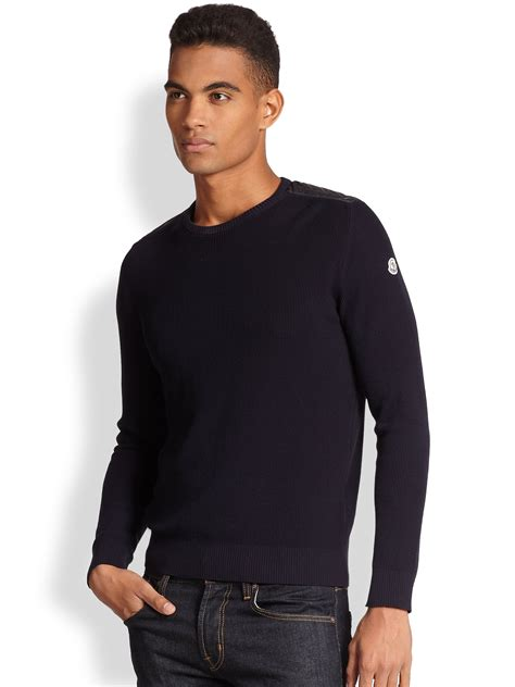 moncler sweater moncler cotton crewneck sweater in blue for lyst