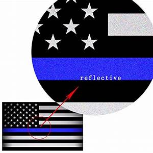 Creatrill reflective us flag decal packs with thin blue for Kitchen colors with white cabinets with thin blue line window sticker