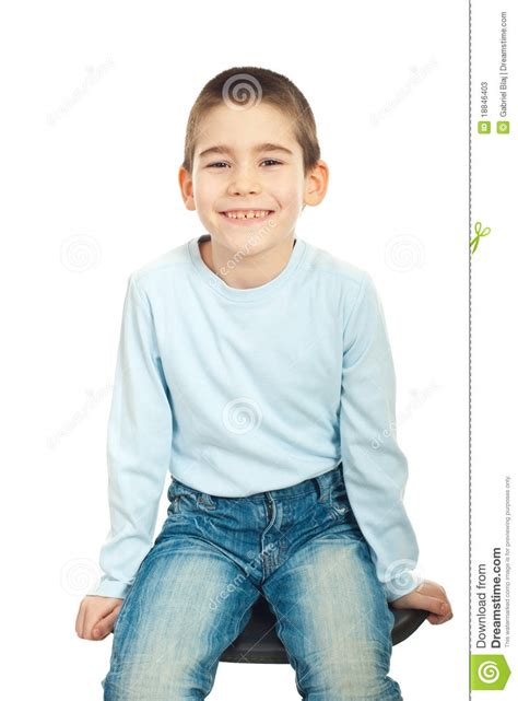 Happy Boy Sitting On Chair Stock Image Image Of Casual