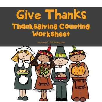 free give thanks thanksgiving counting worksheet tpt
