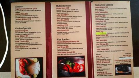 menu picture  al meraj pak indian cuisine guadalajara