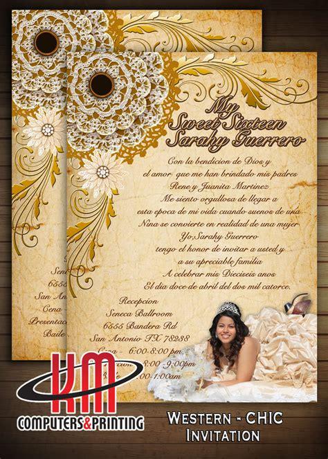 western chic invitation  wedding xv anos bridal