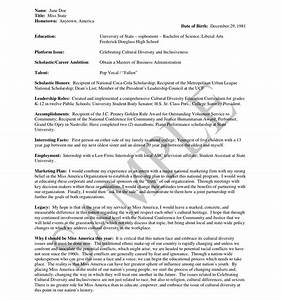12 best images of resume worksheet examples accounting With pageant resume templates