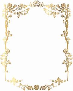 Decorative Rose Frame PNG Clip Art Image   B&F-Goldy ...