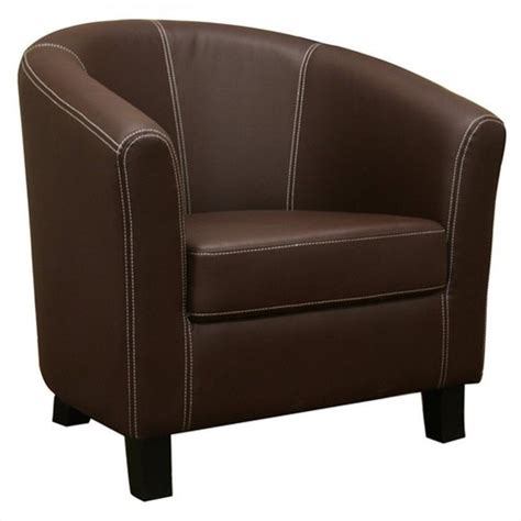 faux leather barrel club chair  brown   dark brown