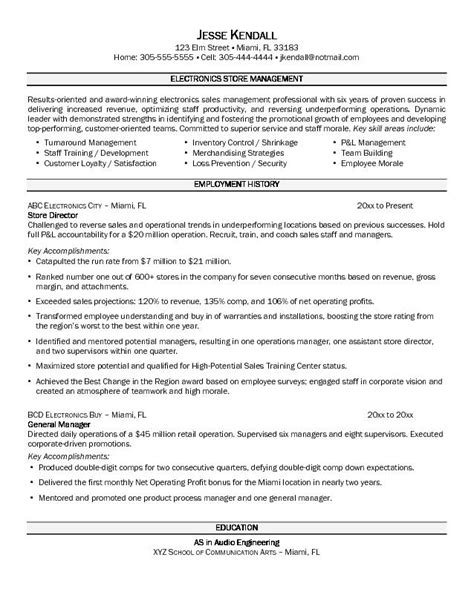 retail management resume exles and sles retail store