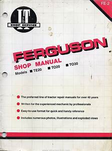 Ferguson Te20 Service Manual For Tractor