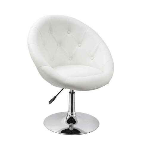 chaise oeuf fauteuil oeuf capitonné design cuir pu chaise bureau blanc