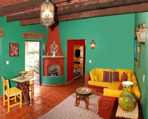 living room with bright mexican colours casas in 2019