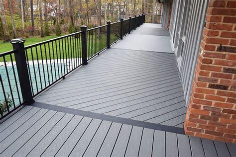 trex deck  pebble grey  black railing