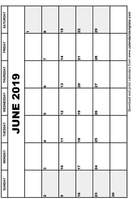 Calendar Template 2019 June 2019 Calendar Template