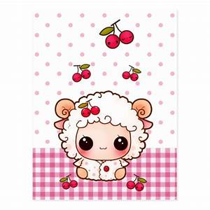 Cute baby sheep with kawaii cherries postcard | Zazzle