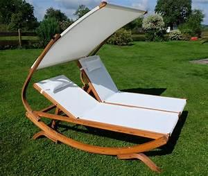 Sonnenliege Für übergewichtige : doppel sonnenliege tulum extrabreit f r 2 personen mit verstellbarem dach aus holz l rche ~ Orissabook.com Haus und Dekorationen