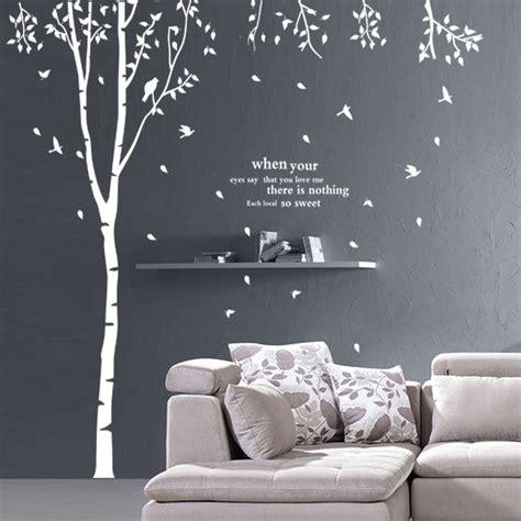 stickers arbre chambre bébé grand arbre creux mur bâton oiseaux 90976 blanc