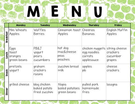Daycare Food Menu Template by Make Easy Meal Plans With This Free Weekly Template The