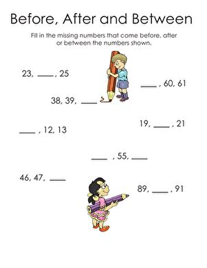 before after and between numbers worksheet education