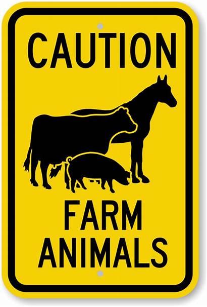 Farm Sign Caution Animals Signs Horse Symbol