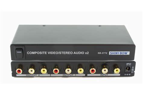1x2 1 2 2 way composite video audio splitter distribution lifier sb 3772 ebay