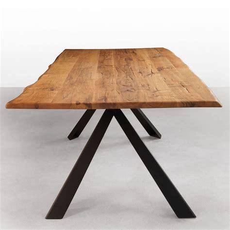 avedon edge solid wood dining table metal legs
