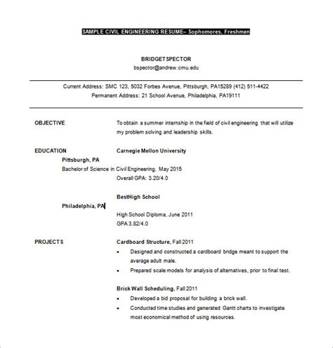 10 civil engineer resume templates word excel pdf