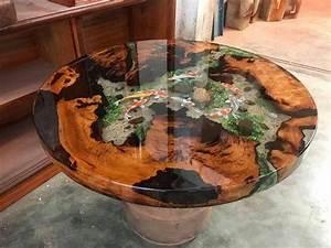 Table En Bois Et Resine : un vieux tronc d 39 arbre reprend vie gr ce la r sine et au pigment flu resin pro ~ Dode.kayakingforconservation.com Idées de Décoration