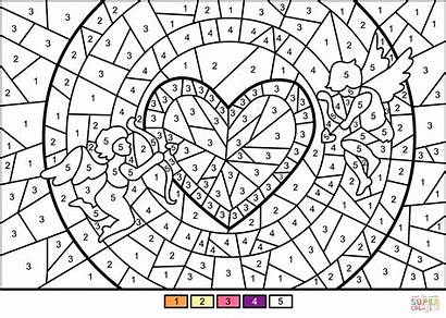 Coloring Number Printable Pages Heart Cupids Outstanding