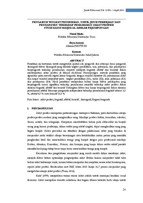 (PDF) PENGARUH TINGKAT PENDIDIKAN, UMUR, JENIS PEKERJAAN