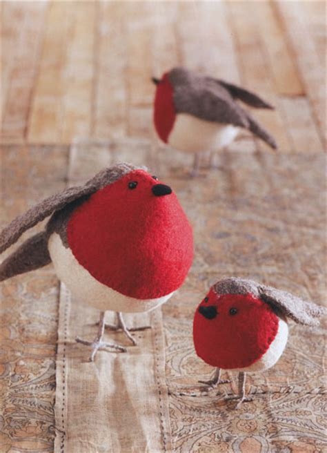 american robin birds felt ornaments holiday decor set   novacom