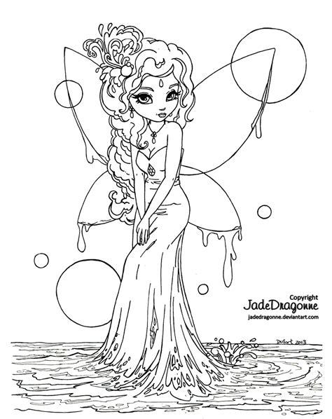 Water Fairy Lineart by *JadeDragonne on deviantART