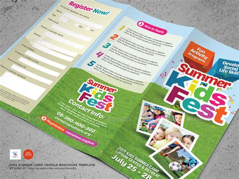 kids summer camp trifold brochure  kinzi graphicriver