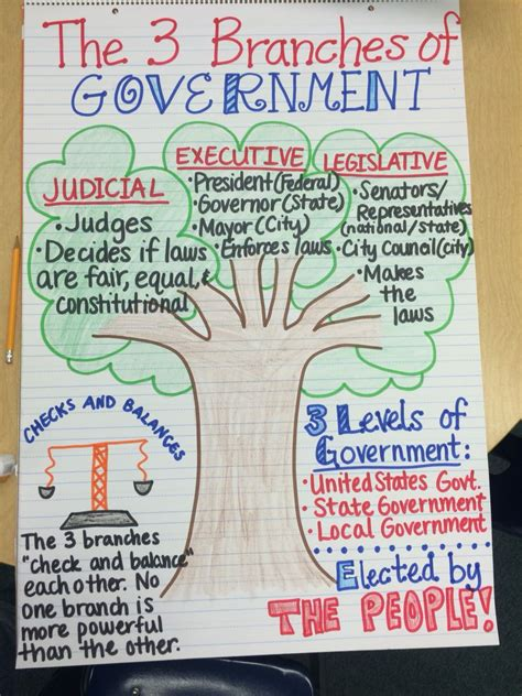 the 3 branches of government anchor chart ss unit 3