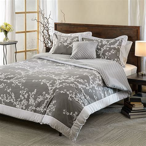 hanami grey and white cotton reversible 5 piece comforter set