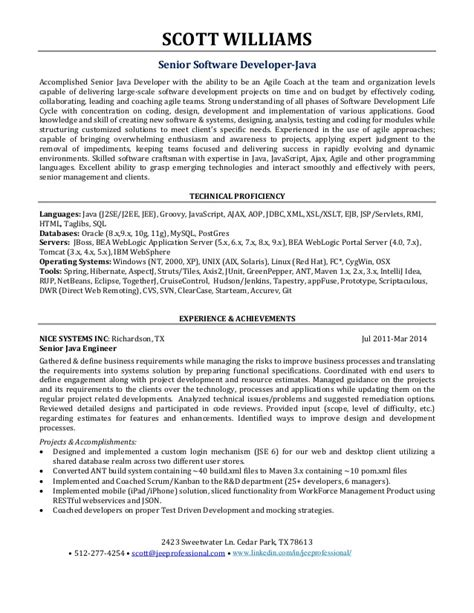resume sle sle resume for java developer fresher